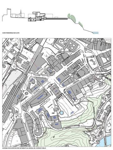 Schéma et coupe de l'occupation des bâtiments au niveau de l'espace public