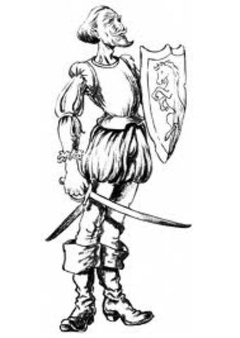 Don Quijote recoge y limpia las armas de sus bisabuelos