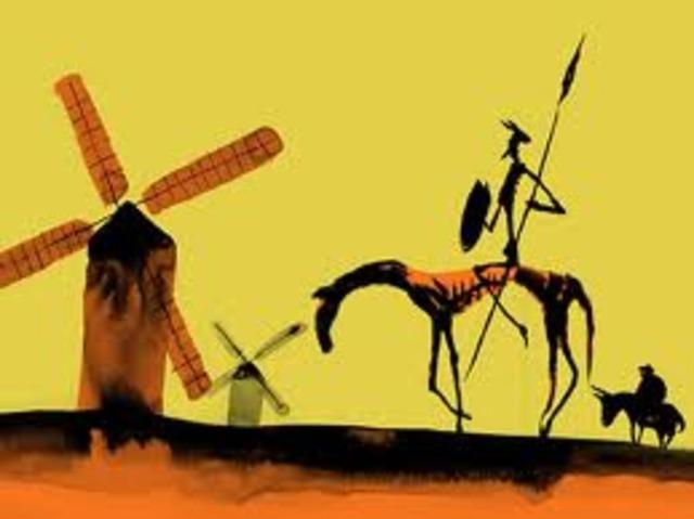 Don Quijote ataca unos molinos