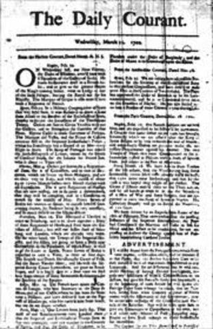 """Publicacion de """"Dailly Courant"""" en Inglaterra uno de los primeros periodicos diarios"""