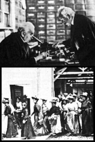 La inaguración de los primeros cines con la comedia de los hermanos Lumière públicamente la salida de obreros de una fábrica francesa en París.