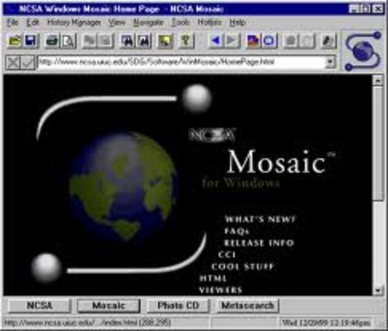 El navegador Mosaic facilita el acceso a la WWW, es precursor deNetscape. Se transmiten 45 millones de bits por segundo