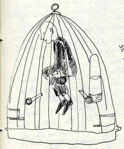 Don Quijote encerrado en una jaula