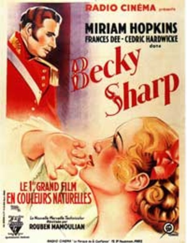 """The first """"3-strip Technicolor"""" feature-length motion picture -- """"Becky Sharp"""" is made            by simultaneously exposing three black & white camera negatives through colored filters"""