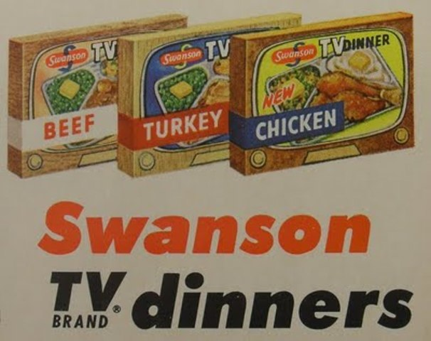 """Swanson employee Gerry Thomas invents the frozen """"T. V. Dinner"""" to get rid of extra            turkey."""