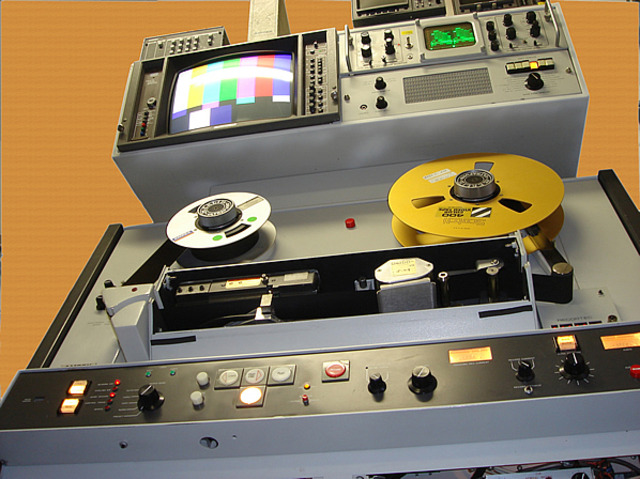 Ampex Co. of Redwood City, CA demonstrates the first videotape system