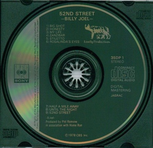 """1982 - The first CD released (in Japan) is Billy Joel's """"52nd Street"""""""