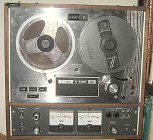 The first pre-recorded reel-to-reel tape is offered for sale.