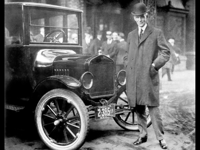 The first Ford Model T leaves the Detriot plant