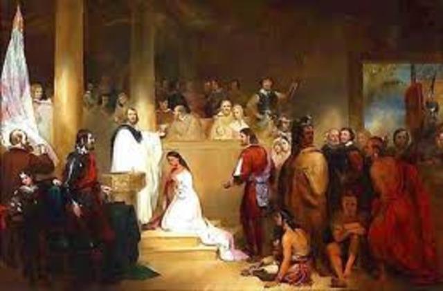 Pocahontas baptized