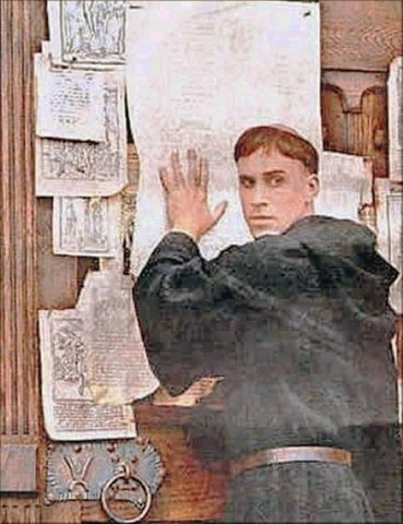 Martin Luther Nails 95 Theses on the Door of Wittenburg Church