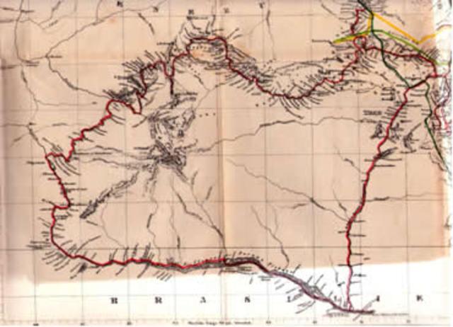 "Schomburgk presenta al gobernador Henry Light de Guyana un ""Minior and map"""