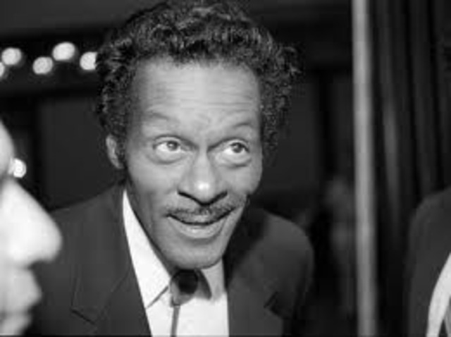 """Chuck Berry records """"Maybellene"""" with Jerome Green and Willie Dixon.[103] This song, along with Bo Diddley's """"Bo Diddley"""" and """"Pretty Thing"""", popularize the use of the guitar as the """"focal instrument"""" of rhythm and blues."""