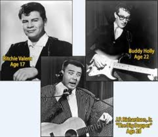 """Ritchie Valens, the first Latin rock star who had a hit with an English version of a Mexican huapango, """"La Bamba"""", dies in a plane crash with the Big Bopper and Buddy Holly, also both popular rock stars. It will become known as the Day the Music Died."""