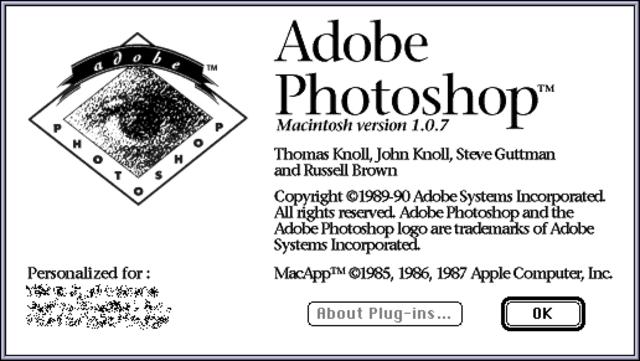 First version of Adobe Photoshop