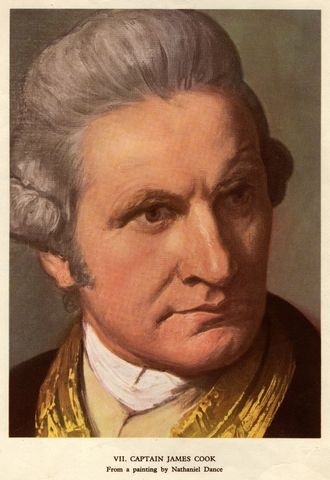 Captain James Cook Claims the east coast of australia for britain
