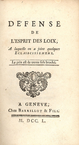 Montesquieu publishes book, On the Spirit of Laws