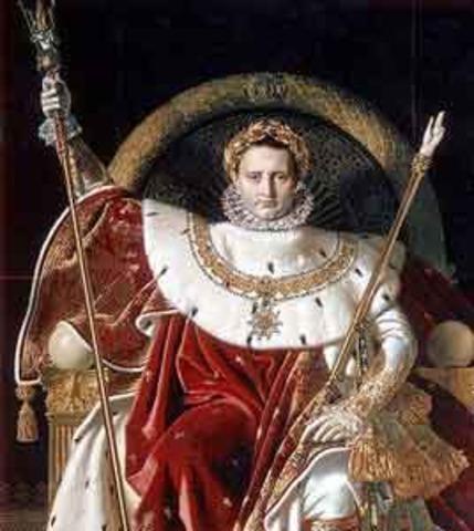 Napoleon crowns himself emperor, begins to create a vast European Empire
