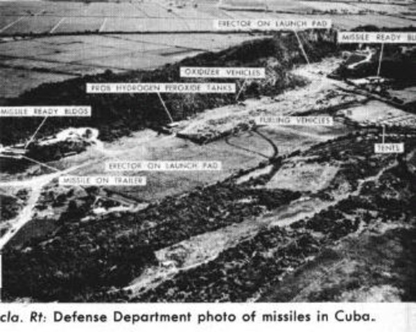 A U-2 flying over western Cuba obtains photographs of missile sites