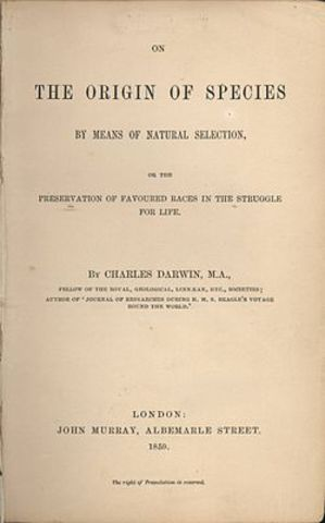 "Charles Darwin's ""Origin of Species"" published"