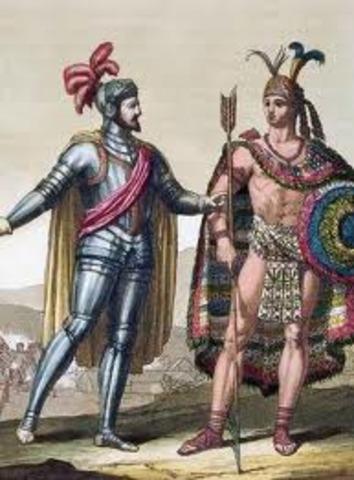 Moctezuma II Meets Cortes