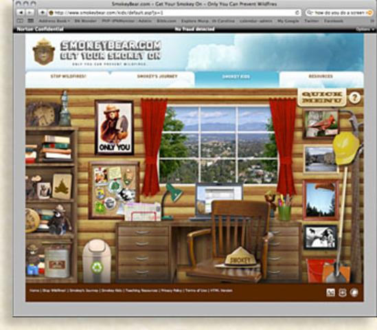 Smokey Bear's Revamped Website