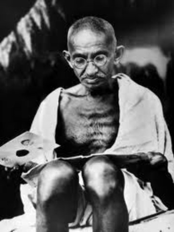 Gandhi fasts as a protest