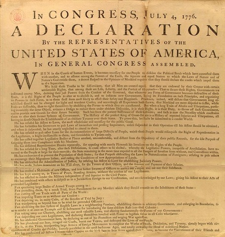 American colonies declare independence from Britain.