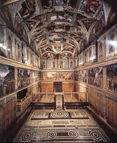 The Sistine Chapel in the Vatican, Rome. Michelangelo