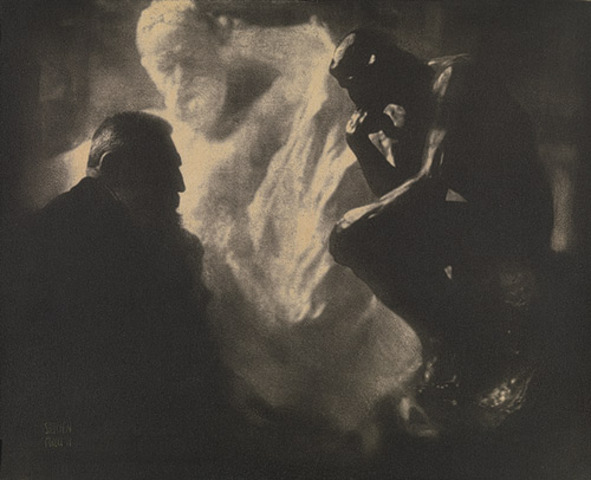 "Rodin with his Sculptures ""Victor Hugo"" and ""The Thinker"" Edward Steichen"