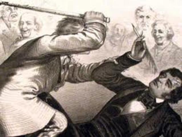 Congressman Preston Brooks Beats Senator Charles Sumner