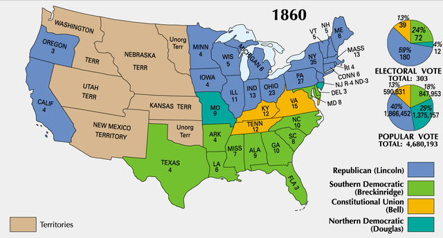Lincoln wins 1860 Presidential Election
