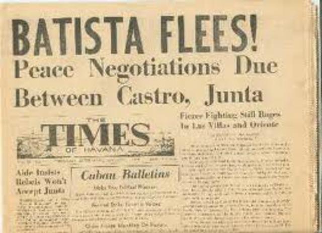Batista resigns and flees Cuba.
