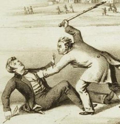 Sumner attacked by Preston