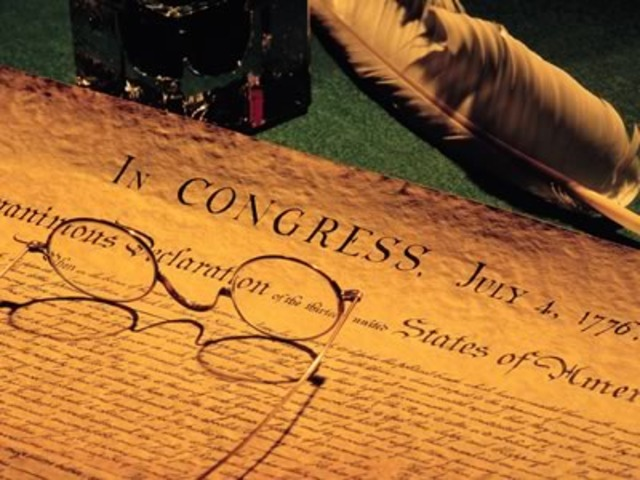 The United States Declaration of Independence is adopted.