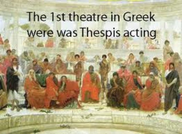 534 B.C.E. Thepis wins drama compition.