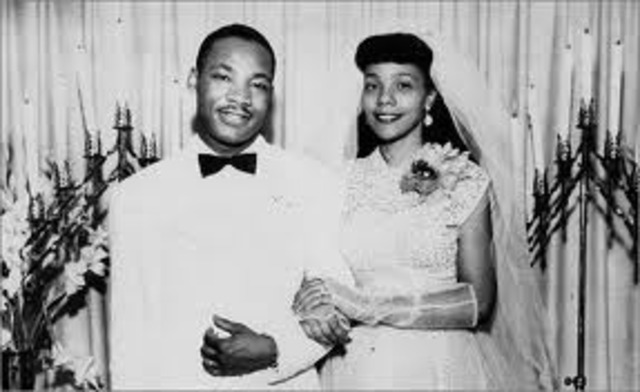 Marries Coretta Scott and settles in Montgomery, Alabama.