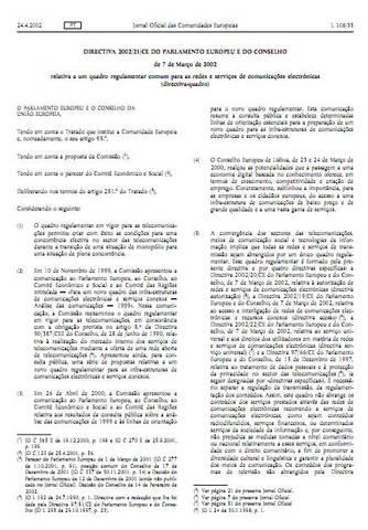 Estabelecimento de um quadro regulamentar comum para as redes e serviços de comunicações eletrónicas