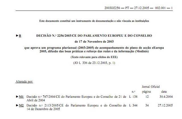 Acompanhamento do plano de ação eEurope 2005, divulgação de boas práticas e reforço da segurança das redes e da informação (MODINIS)
