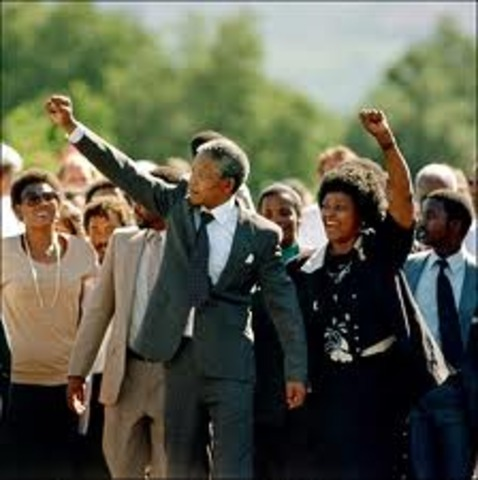 Nelson Mandela released from prison in South Africa