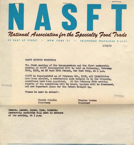 First Membership Meeting of the NASFT