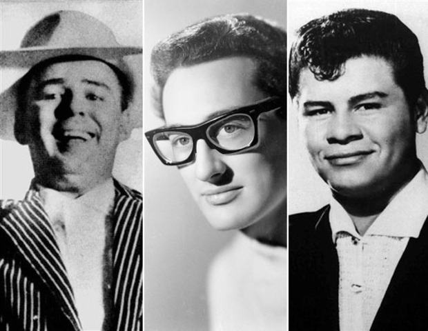 Small plain crashes with three big stars, Buddy Holly, Richie Valens and The Big Bopper