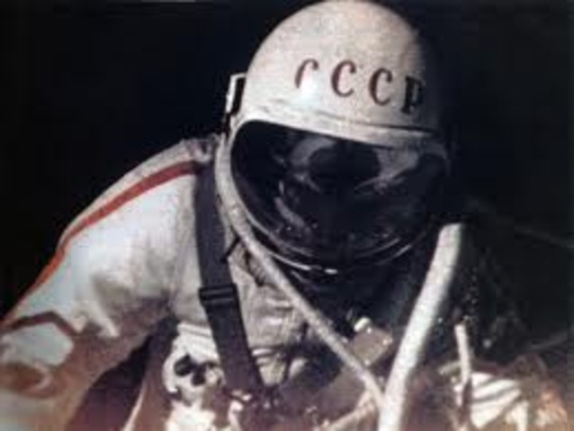 The first space walk is made from Soviet Voskhod 2 by Cosmonaut Alexei A. Leonov. Duration is 12 minutes