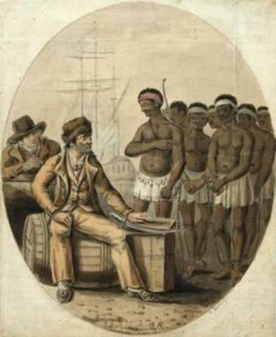 Slaves arrive to the Americas
