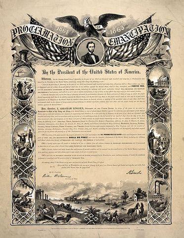 January 1863 Emancipation Proclamation is issued.