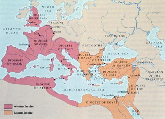 Rome Splits Into West and East