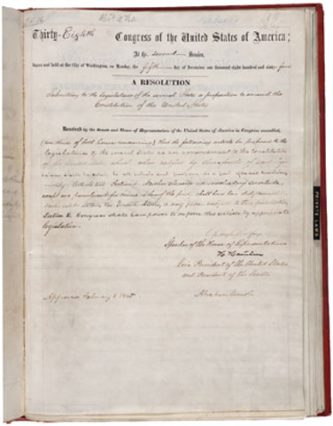 13th Amendment Ratified