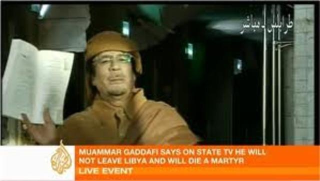Gaddafi urges violent showdown and tells Libya 'I'll die a martyr'