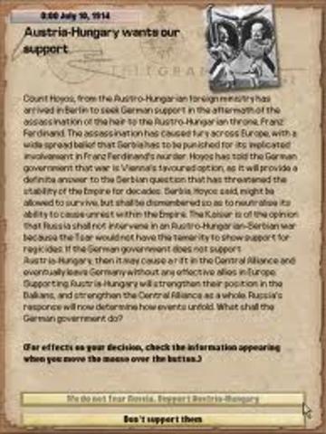 Austria presented Serbia with the ultimatum