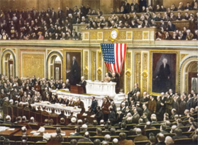Woodrow Wilson asks congress to declare war on Germany